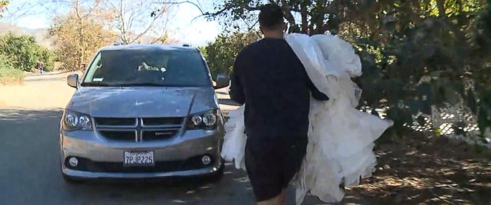 PHOTO: Despite a mandatory evacuation, Anthony and Lenay Bavero returned to their Santa Paula home in the midst of raging wildfires to retrieve Lenays wedding dress and other important items.