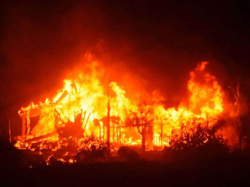 PHOTO: A home burns early Sunday morning, Dec. 10, 2017, off Gobernador Canyon Road in Carpinteria, Calif.