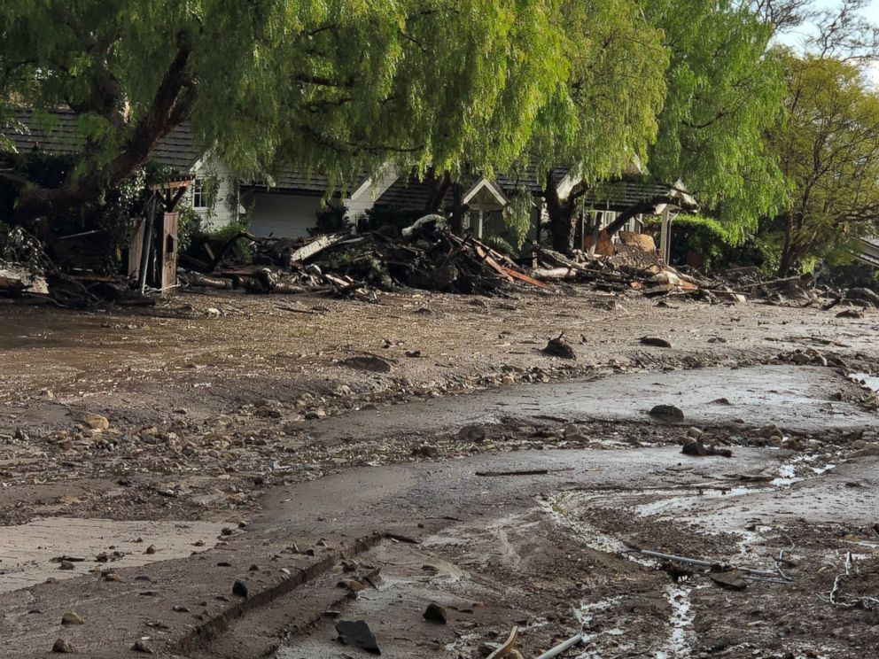 PHOTO: Cottages surrounded by debris and mud after mudslides are seen in Montecito, Calif., in this photo provided by the Santa Barbara County Fire Department, Jan. 9, 2018.