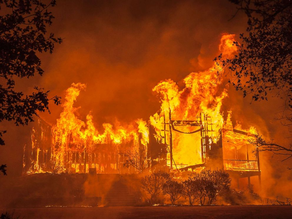 PHOTO: Fire totally engulfed the main structure at the Paras Vineyards as the Nun fire continues to burn west of downtown Napa, Calif., Oct. 10, 2017.