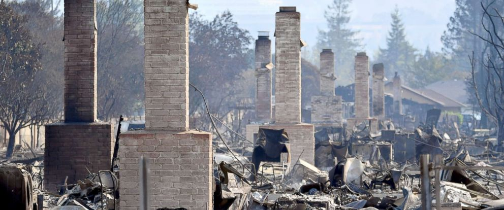 PHOTO: Chimneys are all that remain standing amidst a swath of burned out properties in Santa Rosa, Calif., Oct. 12, 2017.
