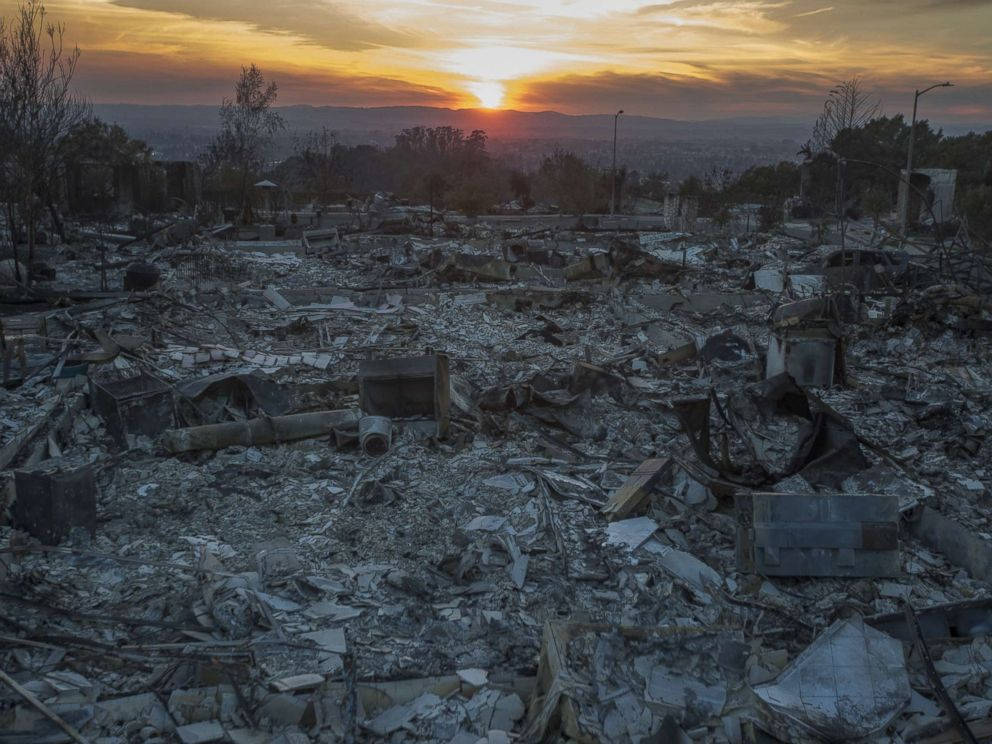 PHOTO: The ruins of houses destroyed by the Tubbs Fire are seen near Fountaingrove Parkway, Oct. 14, 2017 in Santa Rosa, Calif.