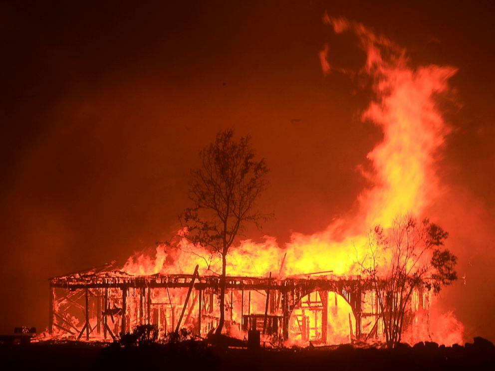 PHOTO: The Historic Round Barn burns, Oct. 9, 2017, in Santa Rosa, Calif.