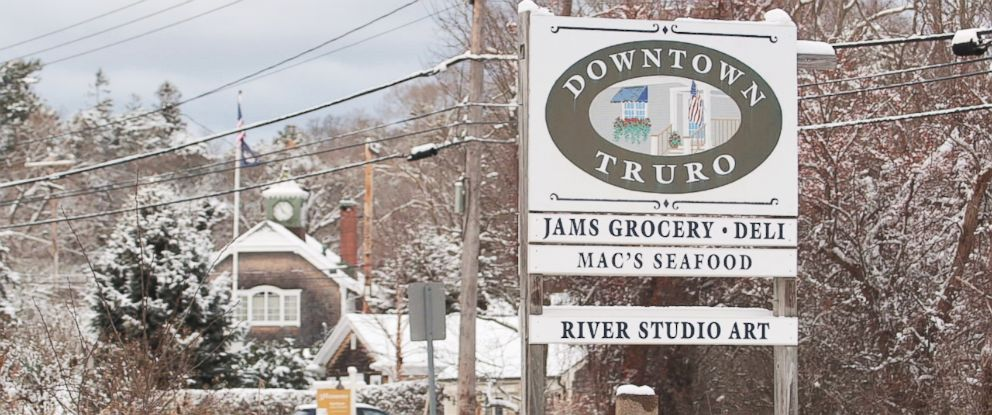 PHOTO: The sign for downtown Truro, Mass., showcasing a grocery store, a restaurant and an art studio.