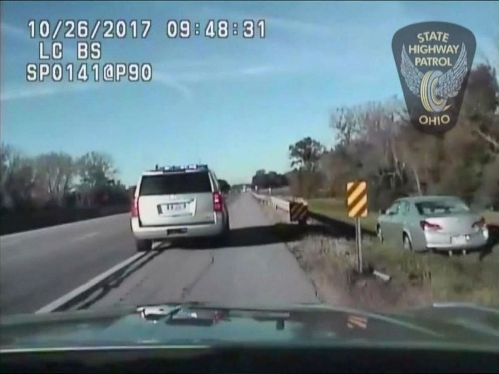 PHOTO: Officers placed stop sticks in the road in an effort to end the chase but the boy drove into the ditch to avoid them.