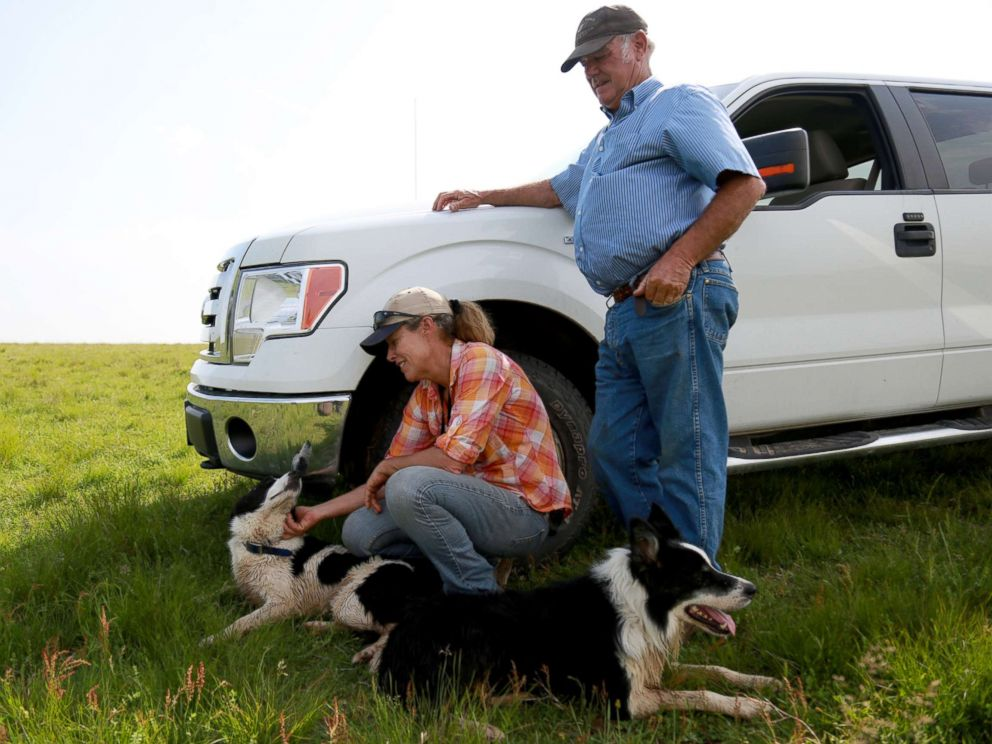 PHOTO: Kathy and Jack Knox pictured with their Border Collies, Rob and Nap.
