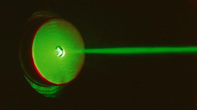 PHOTO: Green laser beam