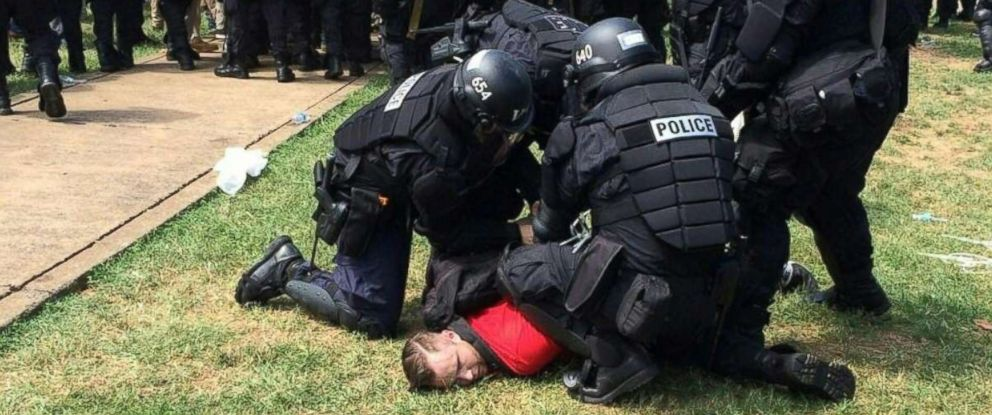 PHOTO: In this twitter hand-out photo courtesy the Virginia State Police, arrests are being made following declaration of unlawful assembly at Emancipation Park in Charlottesville, Va., Aug. 12, 2017.