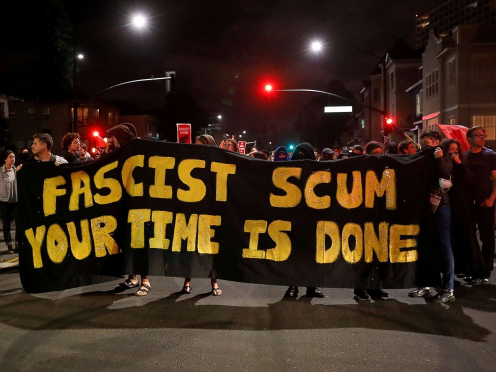 PHOTO: Demonstrators march in response in response to the Charlottesville, Virginia car attack on counter-protesters after the Unite the Right rally organized by white nationalists, in Oakland, Calif., Aug. 12, 2017.