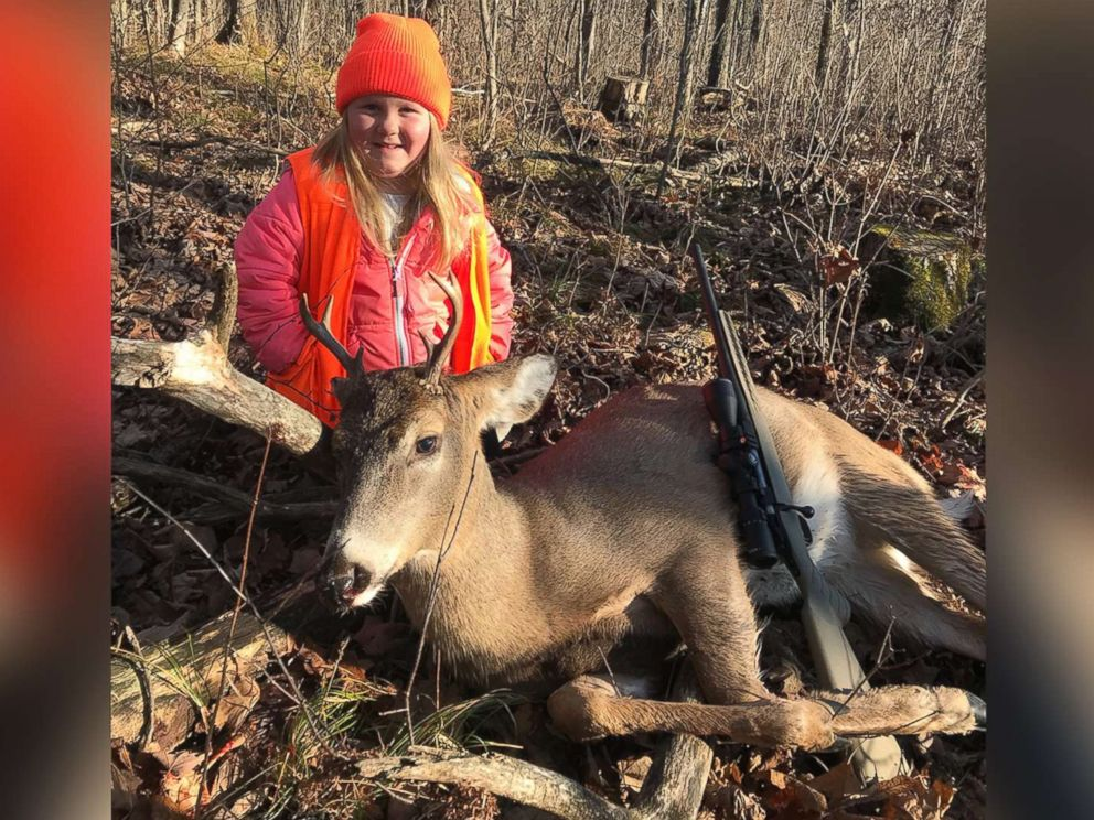 PHOTO: Lexie Harris, 6, poses after bagging a buck in Taylor County, Wis., Nov. 19, 2017.