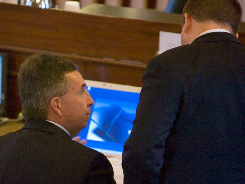 PHOTO: District Attorney Michael Okeefe, left, confers with his assistant, Robert Welsh III, during the murder trial of Christopher McCowen in Barnstable, Mass., Nov. 14, 2006.