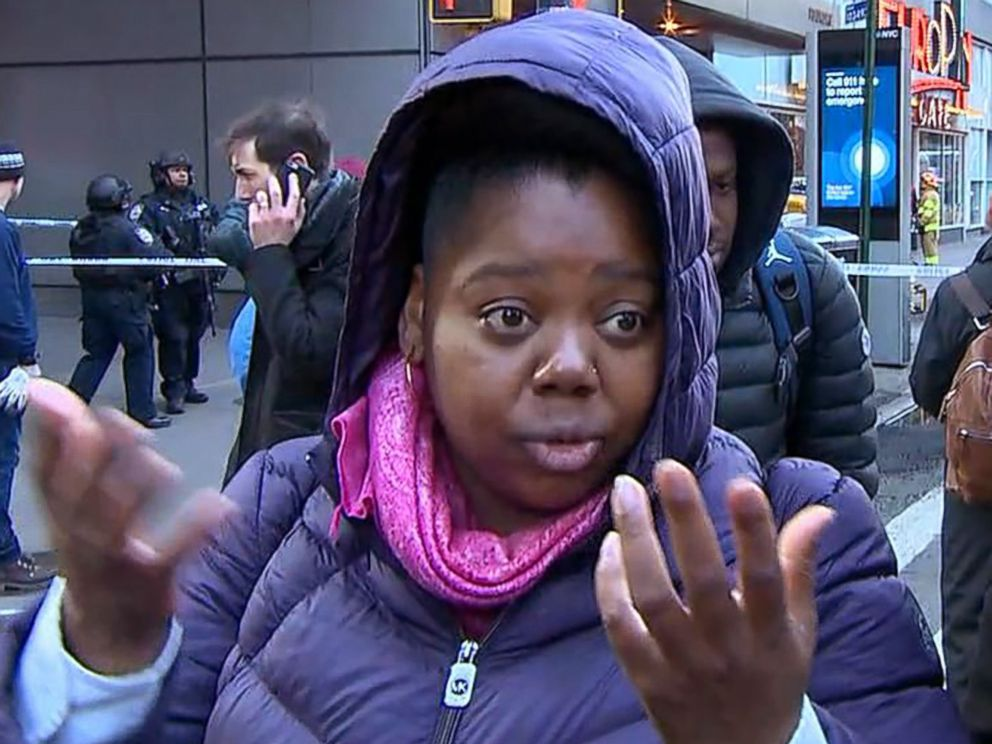 PHOTO: Christina Bethea talks about hearing an explosion during her morning commute in New York on Dec. 11, 2017.