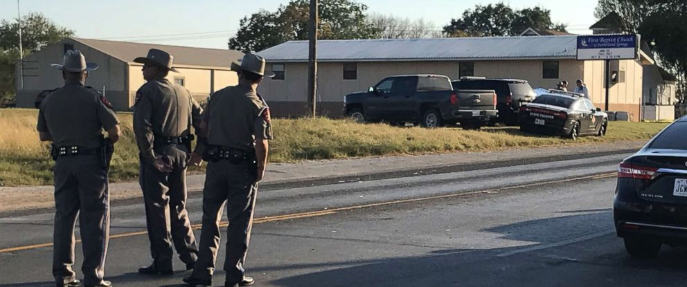 PHOTO: Police block a road in Sutherland Springs, Texas, Nov. 5, 2017, after a mass shooting at the the First Baptist Church.