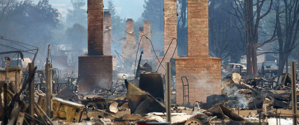 PHOTO: A row of chimneys mark destroyed homes in the Coffey Park subdivision of Santa Rosa, Calif., Oct. 9, 2017.