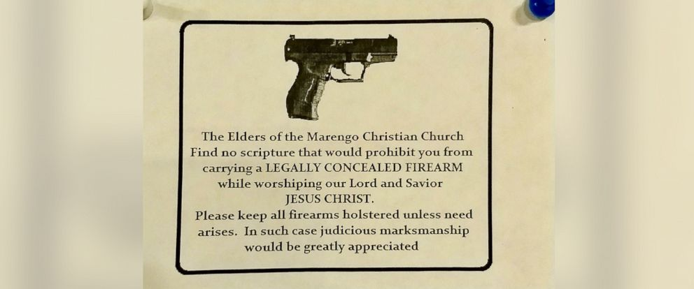 PHOTO: A disclaimer is posted in front of the Marengo Christian Church alerting parishioners that they can carry concealed firearms while attending services.