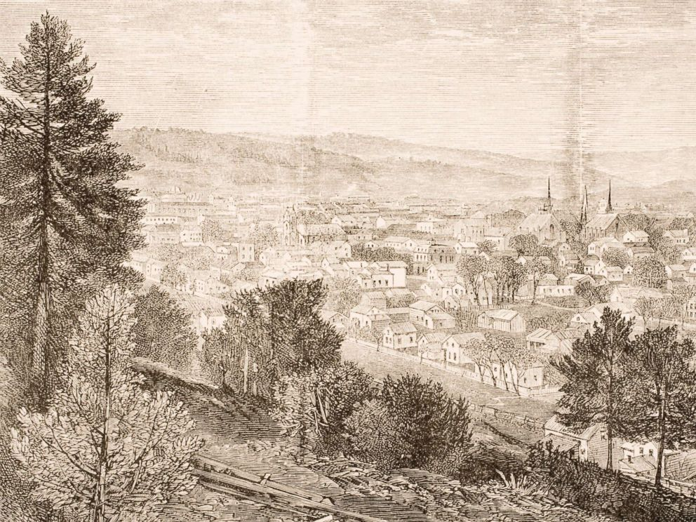 PHOTO: A drawing of Ithaca and the Cornell University in New York circa 1870.