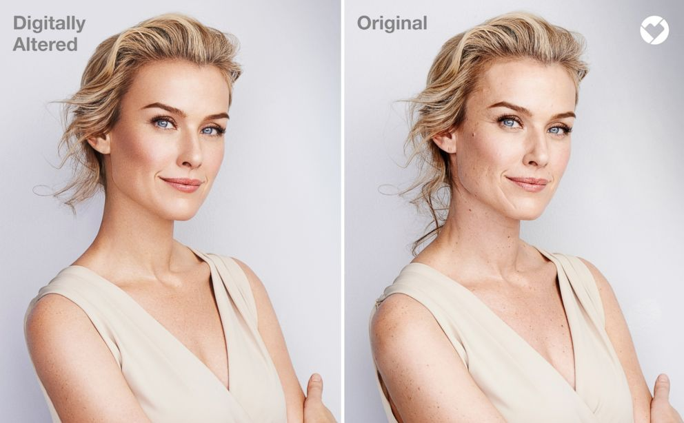 PHOTO: CVS Health distributed this photo to show an altered image used in beauty product marketing, left, and, on the right, the original image with the CVS Beauty Mark logo.