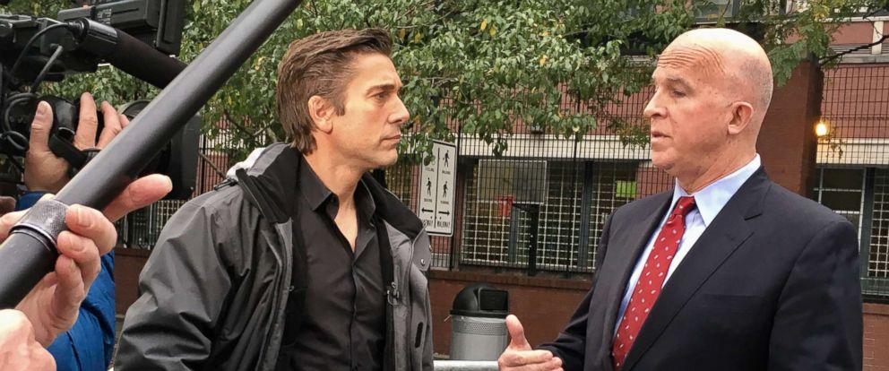 PHOTO: New York Police Commissioner James P. ONeill speaks with ABC News David Muir at the scene of a deadly truck attack that occurred Oct. 31, 2017.