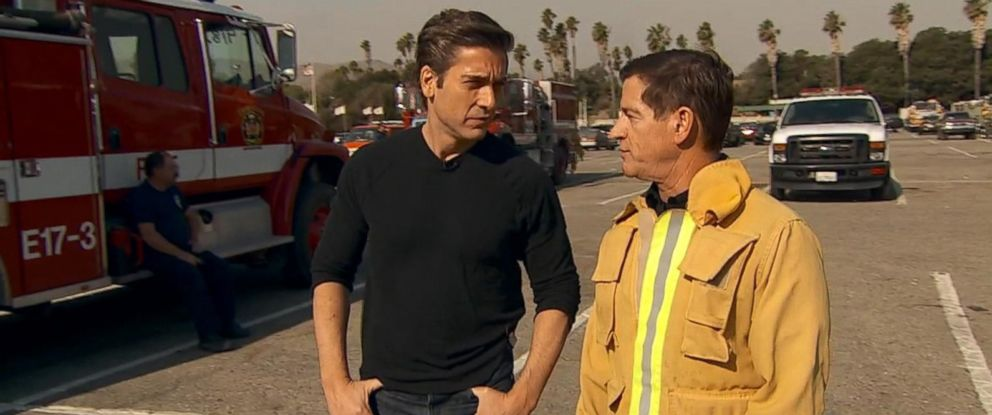 PHOTO: ABC News David Muir speaks to Mark Lorenzen, Ventural Countys fire department chief, about the fires devastating parts of California on Dec. 7, 2017.