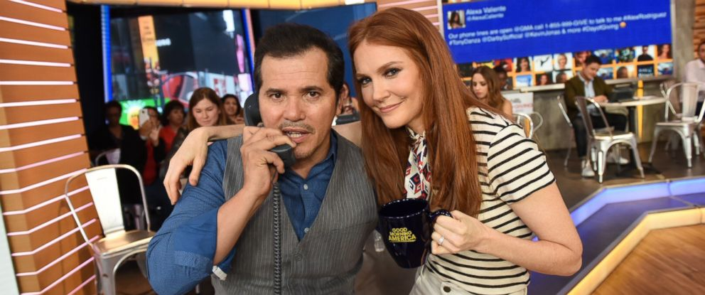 """""""Bloodline"""" actor John Leguizamo and """"Scandal"""" star Darby Stanchfield answer phones on """"GMA,"""" Aug. 31, 2017, during a live telethon for Disney's Day of Giving to help raise money for the American Red Crosss Hurricane Harvey relief efforts."""