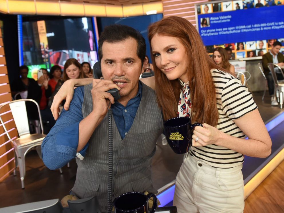 Bloodline actor John Leguizamo and Scandal star Darby Stanchfield answer phones on GMA, Aug. 31, 2017, during a live telethon for Disney's Day of Giving to help raise money for the American Red Crosss Hurricane Harvey relief efforts.