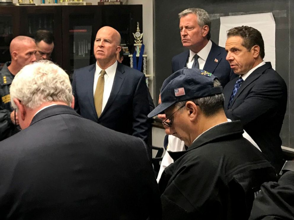 PHOTO: NYPD Commissioner James P. ONeill, New York City Mayor Bill de Blasio and New York Governor Andrew Cuomo in New York City, Oct. 31, 2017.