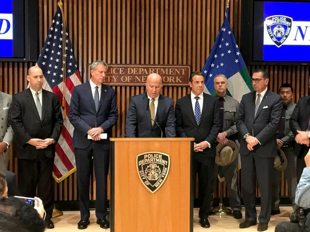 PHOTO: NYPD Commissioner James P. ONeill, center, New York City Mayor Bill de Blasio and New York Governor Andrew Cuomo give an update on the incident that resulted in multiple deaths in New York City, Oct. 31, 2017.