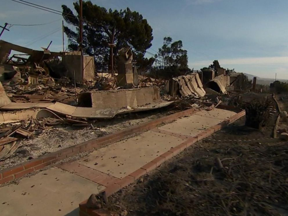 PHOTO: At least 150 structures in Ventura County have been destroyed by the fires in California but that number is expected to rise, authorities said.