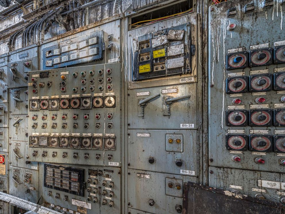 PHOTO: The bin distribution control panel and bin structure in the Domino Sugar Refinery in Williamsburg, N.Y.