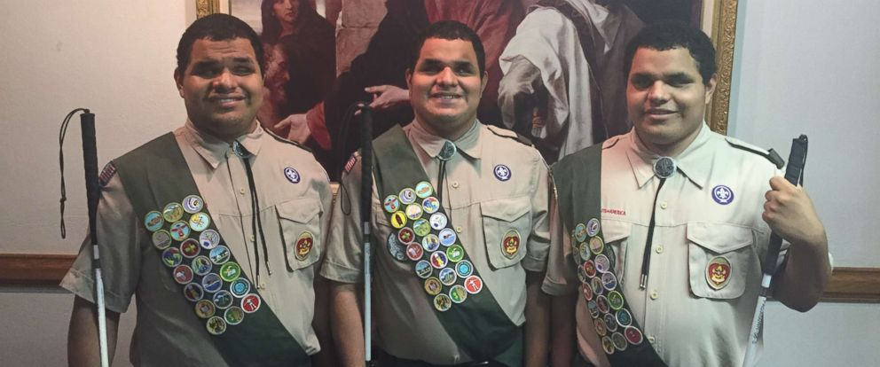 PHOTO: Nick, Leo and Steven Cantos of Alexandria, Virginia, each had to complete a project to advance to the rank of Eagle Scout.