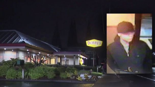 A surveillance photo is show of the suspect in Oregon who doused a man with gasoline and lit him on fire at a Denny's restaurant.