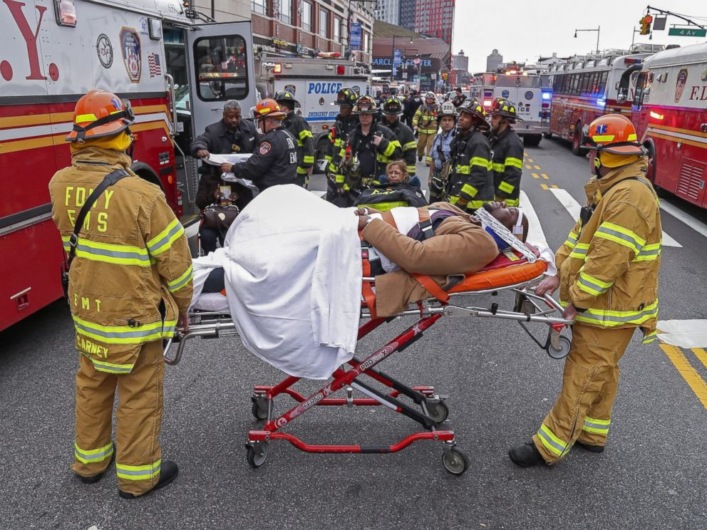PHOTO: New York City Fire Department personnel treat injured passengers after an accident involving a Long Island Rail Road commuter train at the Atlantic Terminal Station in Brooklyn, New York, Jan. 4, 2017.