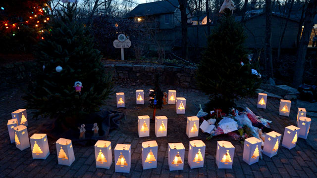 PHOTO: Twenty-six lanterns are seen in the village near the Sandy Hook Elementary School following a shooting that left 26 people dead, 20 of them young children, in Newtown, Conn., Dec. 15, 2012.