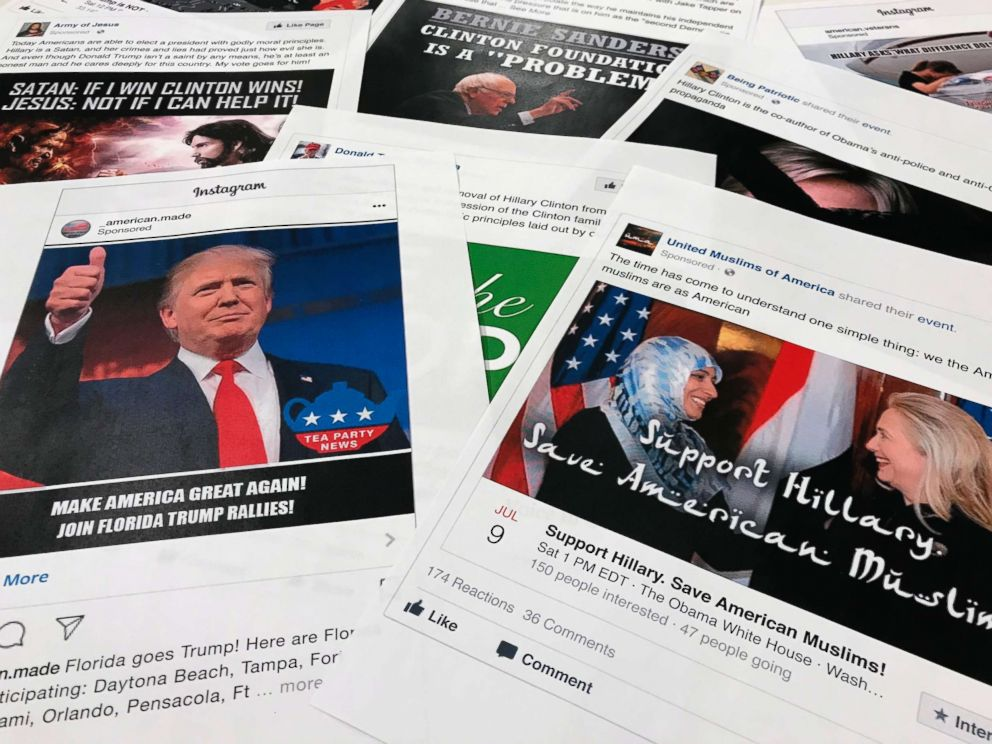 PHOTO: Facebook and Instagram ads linked to a Russian effort to disrupt the American political process and stir up tensions around divisive social issues, released by members of the U.S. House Intelligence committee, in Washington, Nov. 1, 2017.