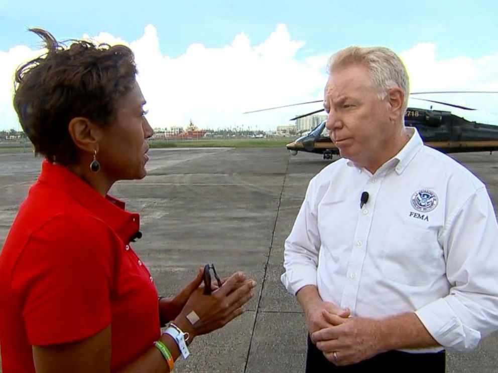 PHOTO: ABC News Robin Roberts interviews Mike Byrne, federal coordinating officer for FEMA, about recovery efforts in Puerto Rico.