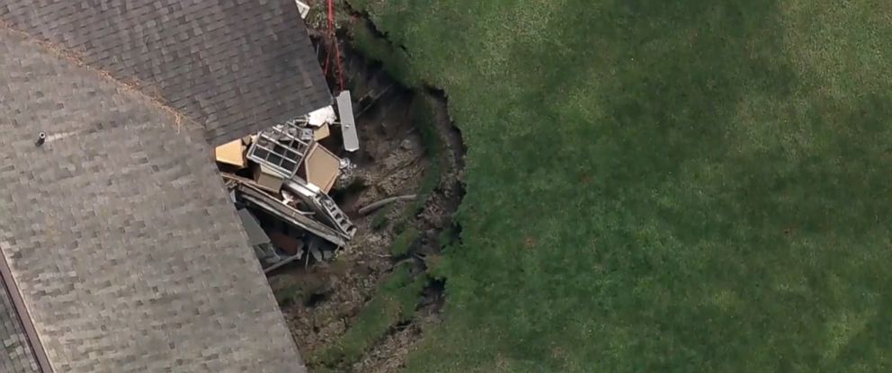 PHOTO: An image made from video shows an aerial view of a sinkhole that opened beneath a home in Apopka, Fla., Sept. 19, 2017.