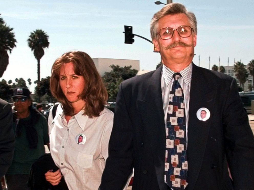 PHOTO: Fred Goldman, right, and his daughter Kim, leave Los Angeles County Superior Court along with their attorney Daniel Petrocelli following pre-trial hearings in the wrongful-death case against O.J. Simpson, Sept. 17, 1996, in Santa Monica, Calif.