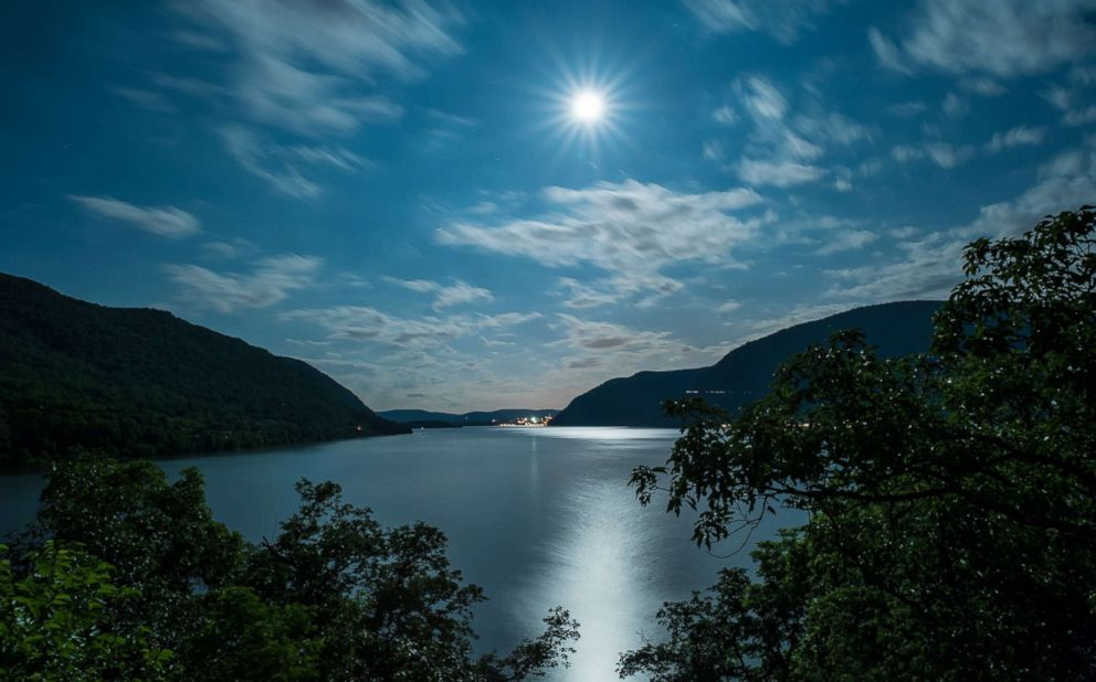 PHOTO: A full moon is photographed over the Hudson River on June 2, 2012 from Bannerman Castle in Duchess County, New York.