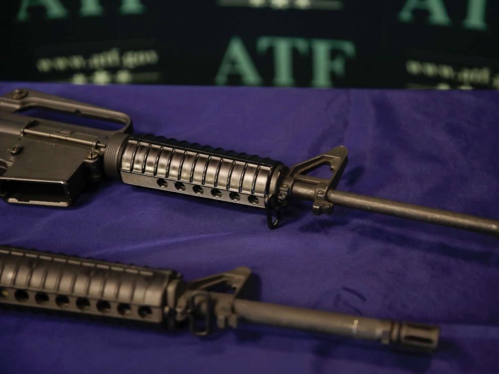 PHOTO: In this Tuesday, Aug. 29, 2017, photo, homemade rifles are displayed on a table at an ATF field office in Glendale, Calif.