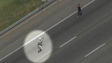 PHOTO: Deputy Fred Haggett challenged a suspected carjacker on Interstate 70 in Jefferson County, Colorado, July 23, 2014, a showdown that was captured on helicopter footage.