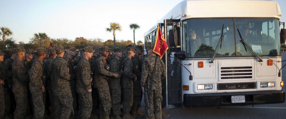 PHOTO: Newly sworn-in US Marines board a bus January 8, 2011 at the Marine Corps Recruit Depot on Parris Island, South Carolina.