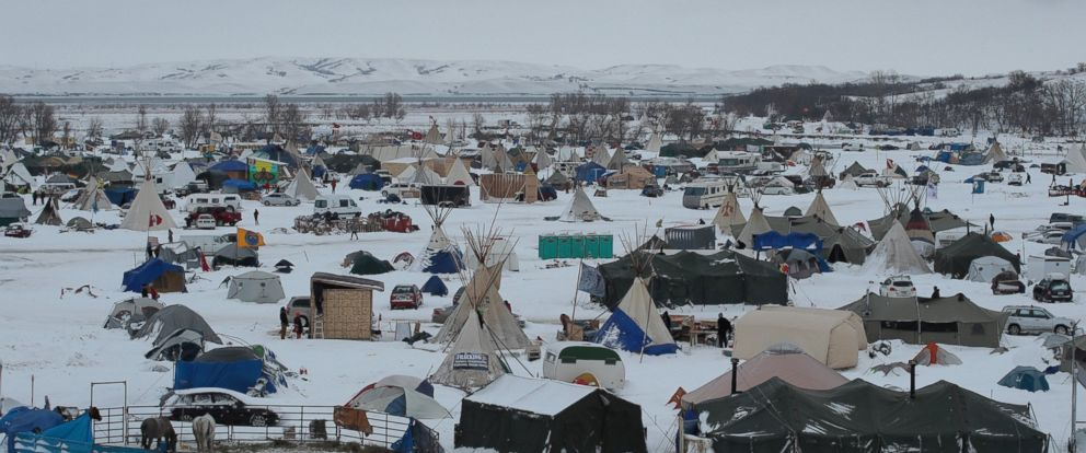 PHOTO: Snow covers Oceti Sakowin Camp near the Standing Rock Sioux Reservation on Nov. 30, 2016 outside Cannon Ball, North Dakota.