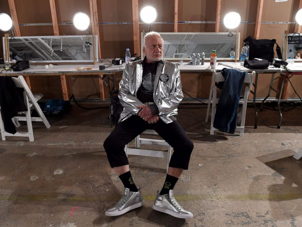 PHOTO: Former NASA astronaut Buzz Aldrin relaxes backstage during the Nick Graham fashion show during New York Fashion Week in New York Jan. 31, 2017.