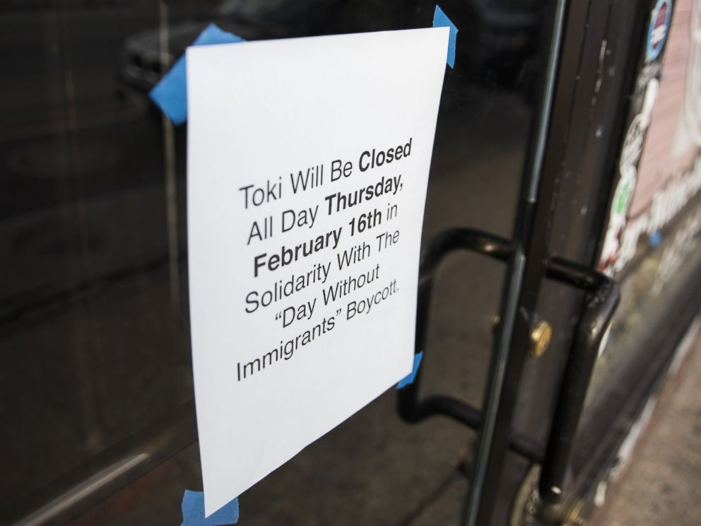 PHOTO: A sign is tapped to the door of a restaurant announcing it will be closed in order to support its staff that are participating in the Day Without Immigrants boycott against President Trumps immigration policies in Washington, Feb. 15, 2017.