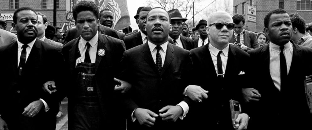PHOTO: Martin Luther King, Jr. leading march from Selma to Montgomery of voting rights for African Americans. Beside King is John Lewis, Reverend Jesse Douglas, James Forman and Ralph Abernathy.