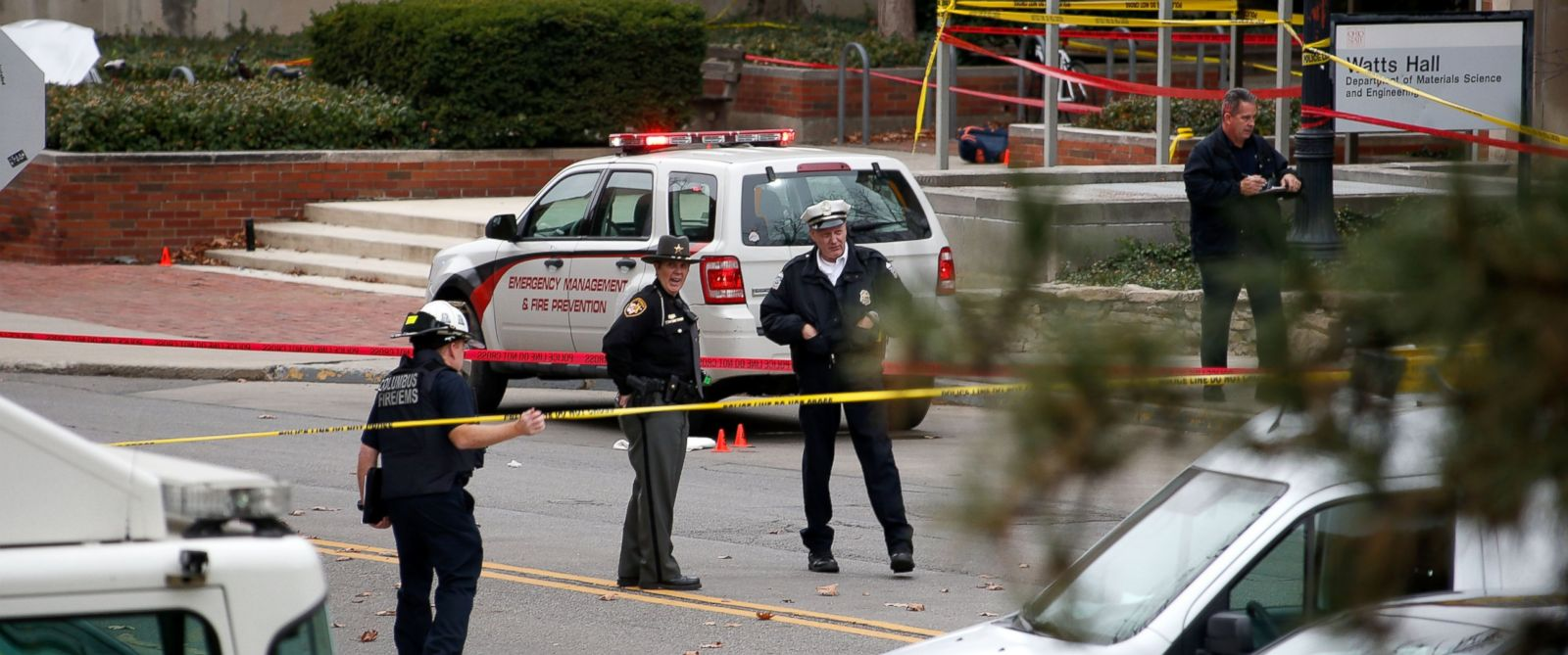 PHOTO: Police keep the roads closed around Watts Hall following an attack on the campus of the Ohio State University on Nov. 28, 2016 in Columbus, Ohio.