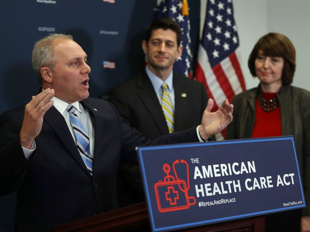 PHOTO: House Majority Whip Steve Scalise speaks during a news conference at the U.S. Capitol on March 15, 2017 in Washington, D.C.