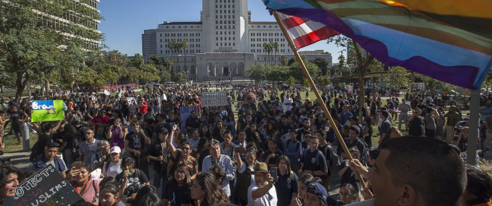PHOTO: Students from numerous area high schools walk out of class to protest near City Hall against the election of Donald Trump on Nov. 14, 2016 in Los Angeles.