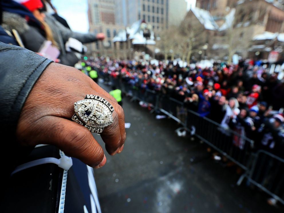 PHOTO: A view of Vince Wilforks championship ring during the Patriots Super Bowl victory parade on Boylston Street, Feb. 4, 2017.