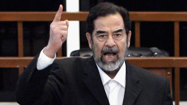 PHOTO: Saddam Hussein shouts as he receives his guilty verdict during his trial, Nov. 5, 2006 in Baghdad, Iraq.